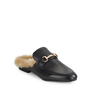 Jill Leather and Faux Fur Mules