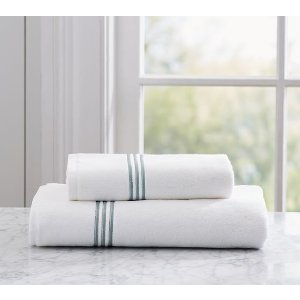 Grand Embroidered 700-Gram Weight Bath Towels   Pottery Barn