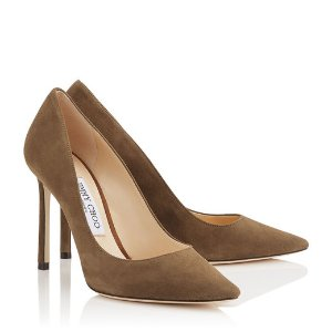 ROMY 100 Khaki Brown Suede Leather Pointy Toe Pumps