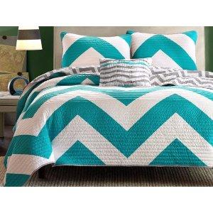 Aqua Zig Zag Chevron Queen Bedspread Comforters | Sofa Mania - ZIG ZAG AQUA - Sofamania