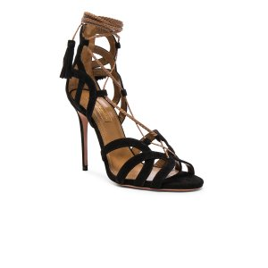 Aquazzura Mirage Heels in Black Suede | FWRD