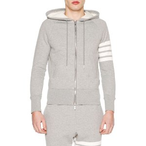 Thom Browne Classic Zip-Up Hoodie with Stripe-Detail, Light Gray/Optic White