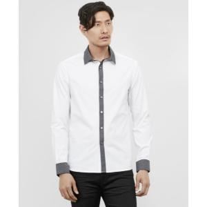 Long-Sleeve Contrast Collar Shirt   Kenneth Cole