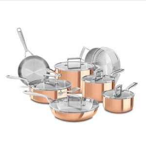 $199.99(reg.$899.99) KitchenAid®Tri-Ply Copper 12-Piece Set