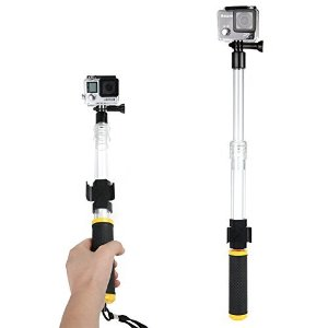 LOPOO Selfie Stick for Gopro 4/3+/3 Series Extendable Clear Floating Transparent Telescopic Remote Mount Clip