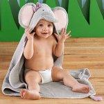 Baby Aspen Splish Splash Elephant Bath Hooded Spa Towel, Gray