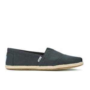TOMS Men's Seasonal Classic Slip-On Pumps - Black Linen with Rope - FREE UK Delivery