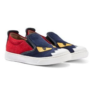 Fendi Red and Navy Suede Monster Eye Pumps