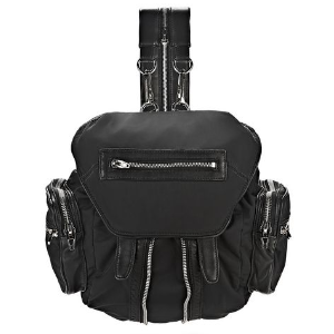MINI MARTI IN BLACK LEATHER AND NYLON WITH RHODIUM BACKPACK