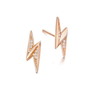 Rose Gold Vermeil Mini Lightning Bolt Biography Stud Earrings | Astley Clarke London