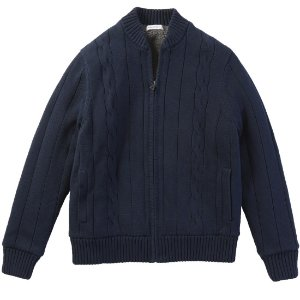 Sherpa Lined Zip-Front Cardigan - Navy