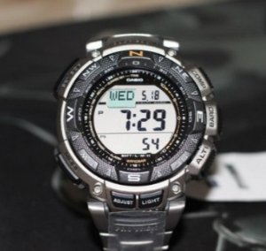 $139.00 Casio Men's PAG240T-7CR Pathfinder Triple-Sensor Stainless Steel Watch
