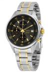 $74.99 SEIKO Chronograph Black Dial Two-tone Men's Watch
