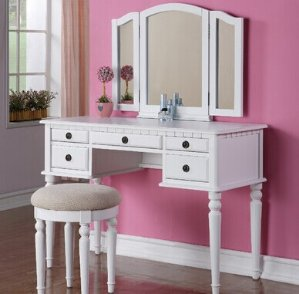 BCP Wooden Makeup Jewelry Vanity Set Table With Mirror and Seat Bench White