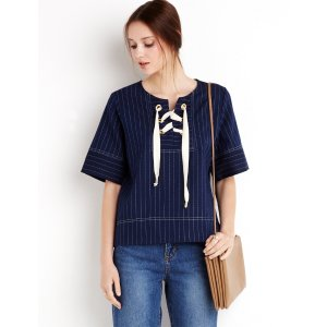 Pinstripe Lace Up Eyelet Top