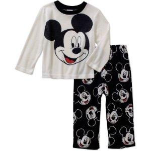 $4.88Mickey Mouse Toddler Boys' Long Sleeve Top with Fleece Pants Pajama 2 Piece Set