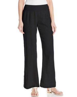 Calvin Klein Women's Linen Pant with Elastic Waistband