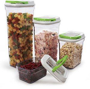 Carteret Collections Stackable, Airtight 4 Piece Locking Lid Food Storage Container Set