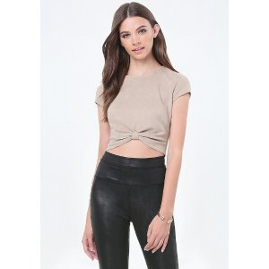 Faux Suede Knot Crop Top - All New Arrivals | bebe