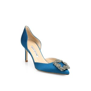 Hangisi 70 Satin D'Orsay Pumps by Manolo Blahnik