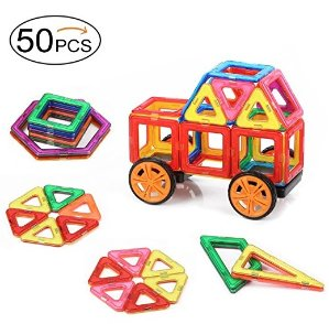 Quadpro Magnetic Building-Blocks 48 Pieces+2 Pieces car wheels, A total of 50 PCS,DIY magnets building blocks Educational toys Kit for Kids