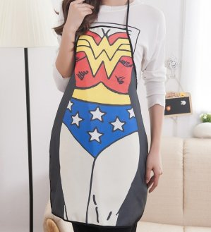FGN Creative Sexy Carton Aprons for Cooking,baking and Grill Use, Creative Kitchen Aprons for Gifts (Superwoman)