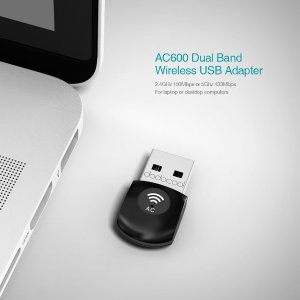 dodocool Wireless USB Adapter Wi-Fi Dongle AC 600 Dual Band 2.4GHz 150Mbps