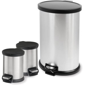 2016 Black Friday! $18.97 Mainstays Step 3-Piece Waste Can Set, Stainless Steel