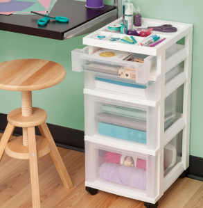 $19.59 IRIS 4-Drawer Cart with Organizer Top and Casters