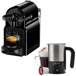 $129 Nespresso Inissia Espresso Maker with Aroma Stainless Steel Milk Frother, 3 Colors