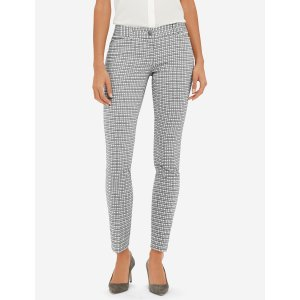 Grid Pattern Pencil Pants