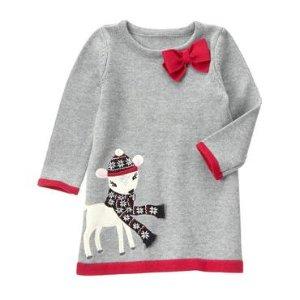 Toddler Girls Heather Grey Deer Sweater Dress by Gymboree
