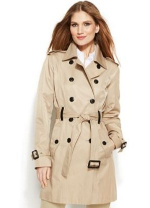 MICHAEL Michael Kors Double-Breasted Hooded Trench Coat