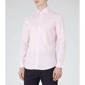 Rider Pink Jacquard Weave Shirt - REISS