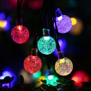 Qedertek Globe Solar String Lights, 19.7ft 30 LED Fairy Lights, Outdoor Solar Lights for Home, Garden, Patio, Lawn, Party and Holiday Decoration (Multi-color)