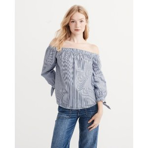 Womens Poplin Off-The-Shoulder Top | Womens Clearance | Abercrombie.com