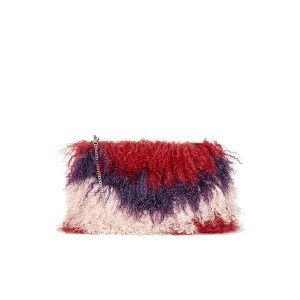 House of Holland Women's Fur Clutch with Chain - Maroon/Pink/Purple