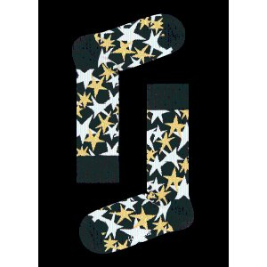 black, white. Yellow cotton crew Stars Sock at Happy Socks!