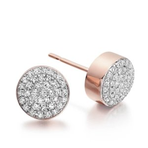 Ava Button Stud Earrings in 18ct Rose Gold Vermeil on Sterling Silver with Diamond | Jewellery by Monica Vinader