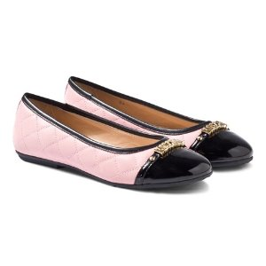 Moschino Pink Quilted Ballet Pumps with Patent Toe Cap   AlexandAlexa
