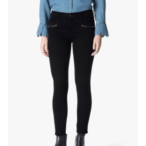 B(AIR) DENIM ANKLE SKINNY WITH FRONT ZIPS IN BLACK 紧身裤