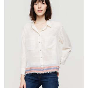 Lou & Grey Fringestripe Cropped Button Down Shirt