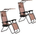 $64.99 New 2 PCS Zero Gravity Chair Lounge Patio Chairs with canopy Cup Holder HO74