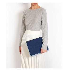Luxury blue denim oversized clutch bag | meli melo Double 12 sale