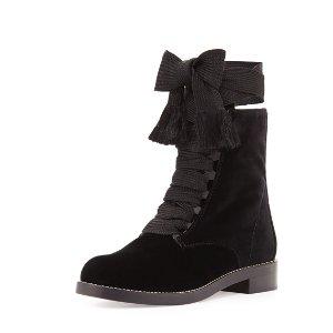 Chloe Harper Lace-Up Velvet Ankle Boot, Black