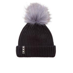 BKLYN Women's Merino Wool Hat with Dark Grey Pom Pom - Black - Free UK Delivery over £50