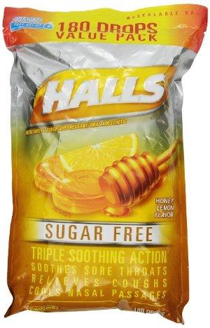 HALLS Sugar-Free Cough Drops, (Honey-Lemon, 180 Drops)