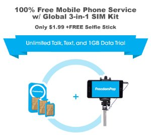 $1.99 FreedomPop 100% Free Mobile Phone Service with Global 3-in-1 SIM Kit