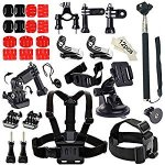Soft Digits Accessories Bundle Kit for GoPro Hero 5/4/3/2/1 Action Camera Accessory Set for Ourdoor Sports in Swimming Diving Rowing Climbing Bike Riding
