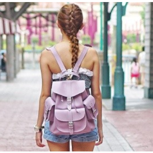 Unineed.com | GRAFEA 100% Leather LAVENDER Backpack - Lilac - Premium beauty and fashion from Unineed.com